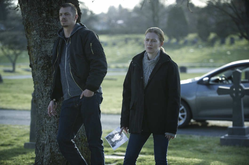 "Joel Kinnaman (L) and Mireille Enos (R) in a scene from Netflix's ""The Killing"" Season 4. Photo Credit: Carole Segal for Netflix."