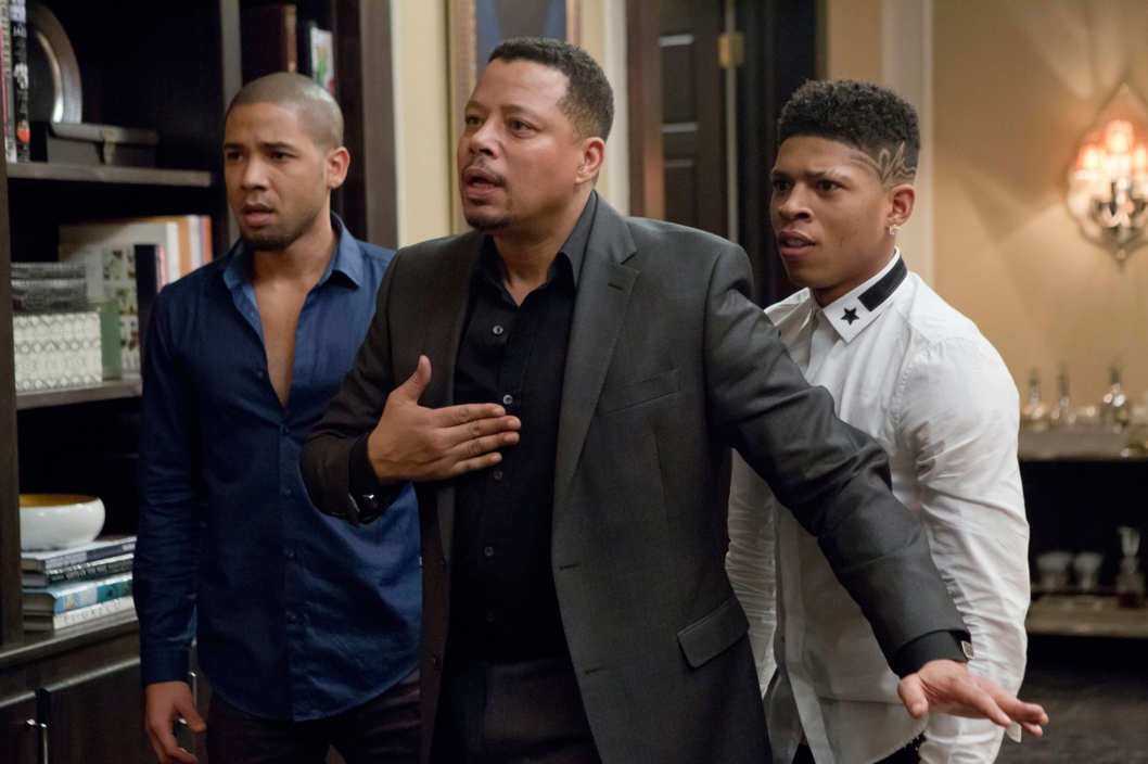 """EMPIRE: Jamal (Jussie Smollet, L) and Hakeem (Bryshere Gray, R) listen to Lucious (Terrence Howard, C) make a confession in the """"Sins of the Father"""" episode of EMPIRE airing Wednesday, March 11 (9:01-10:00 PM ET/PT) on FOX. ?2015 Fox Broadcasting Co. CR: FOX Chuck Hodes/FOX"""