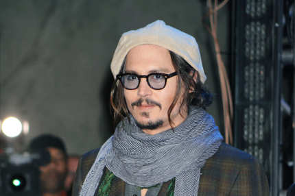 "HOLLYWOOD - FEBRUARY 19: Actor Johnny Depp attends the ""Alice In Wonderland"" Great Big Ultimate Fan Event at Hollywood & Highland Courtyard on February 19, 2010 in Hollywood, California. (Photo by Jeffrey Mayer/WireImage)"